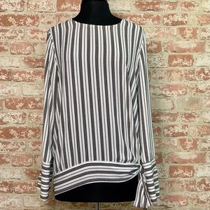 Pleione Striped Tie Waist Long Sleeve Blouse